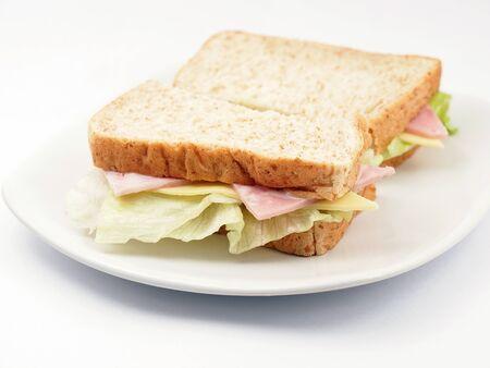 Fresh Ham and cheese whole wheat bread sandwich Stock Photo