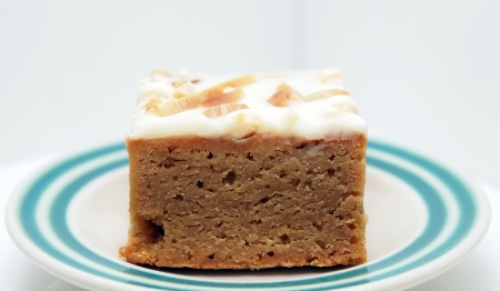 brown cake with white chocolate