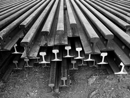 monotone: I-beam steel for railway in monotone color