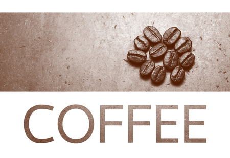 monotone: Roasted Coffee beans with coffee text, retro monotone color and white background