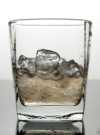 Ice and water in glass photo