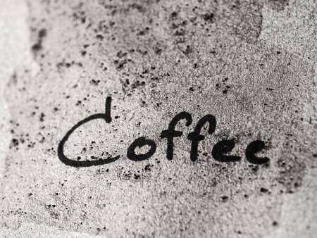 monotone: Coffee text on dirty paper, monotone color Stock Photo