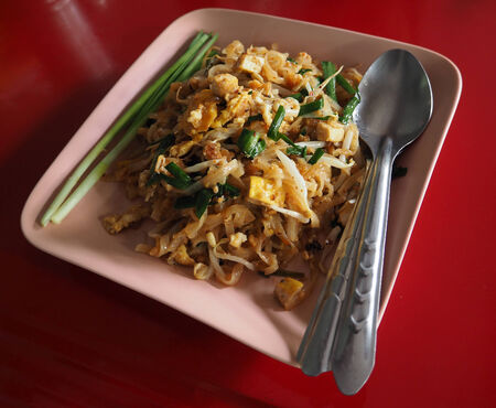 Pud-thai, fried rice noodles with bean curd, sprout and egg Stock Photo