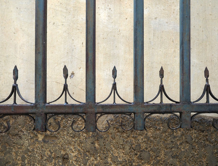 antique corroded steel fence and wall texture background