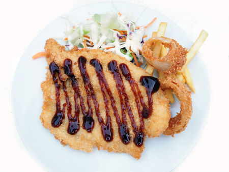 Fried fish with salad  photo