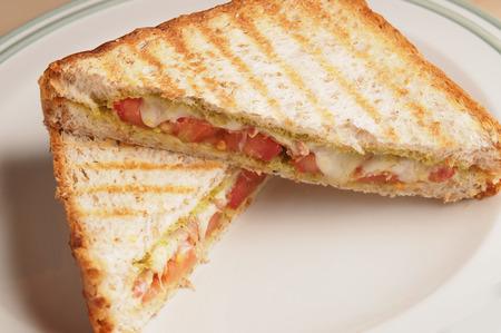 Whole wheat bread Bacon pesto and mozzarella panini