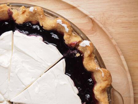 Blueberry custard cream pie, homemade bakery photo