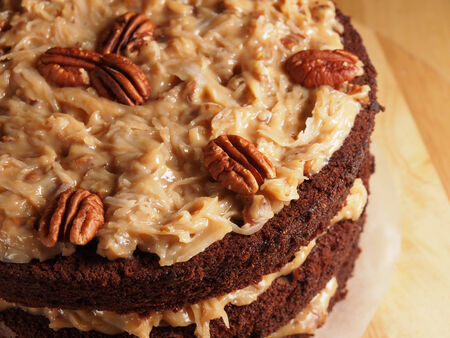 German chocolate cake, homemade bakery photo