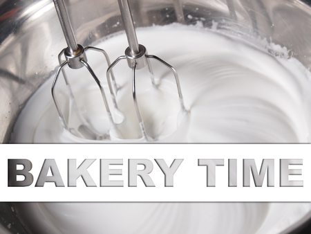 cake mixer: Mixing white egg cream in bowl with motor mixer, baking cake, with text banner Stock Photo