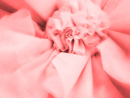 Abstract blurred red fabric paper craft flower for decoration background Stock Photo