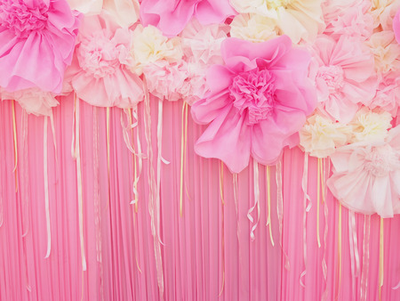Abstract pink fabric paper craft flower for decoration background