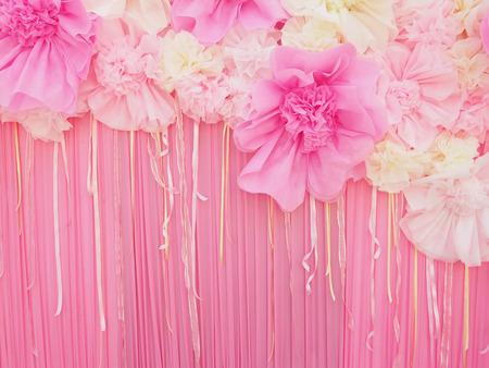 Abstrakte rosa Stoff-Papier Handwerk Blume für Dekoration Hintergrund