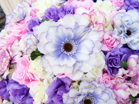 Colorful bouquet of fabric craft flower background