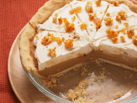 Butterscotch Cream Pie with caramel on topping