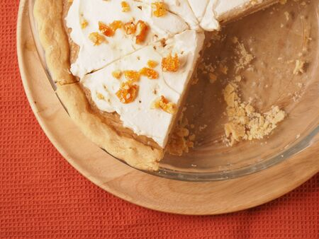Butterscotch Cream Pie with caramel on topping photo