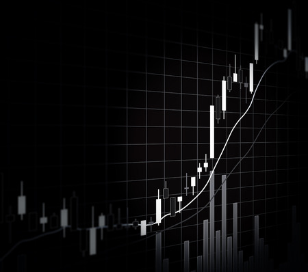 bearish: Candle stick graph chart of stock market investment trading, monotone color Stock Photo