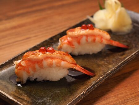 caviar: Shrimp sushi with caviar Stock Photo