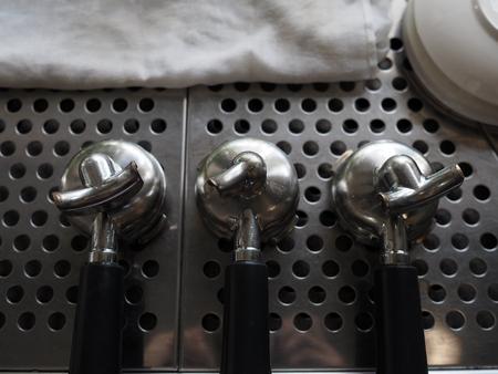 hot temper: Portafilter on espresso coffee machine