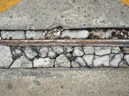 crack concrete floor with corroded pipe texture background