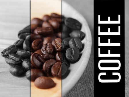 Coffee crop beans on wood plate texture with coffee text background Stock Photo
