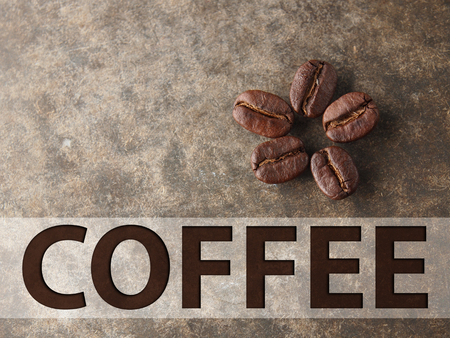 Coffee crop beans  on wood concrete texture background