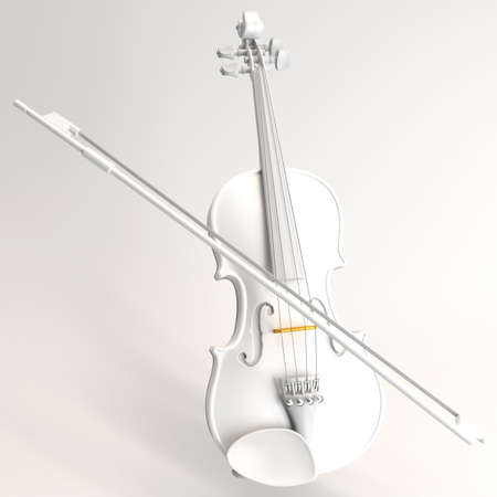 White polished violin on background. 3d rendering