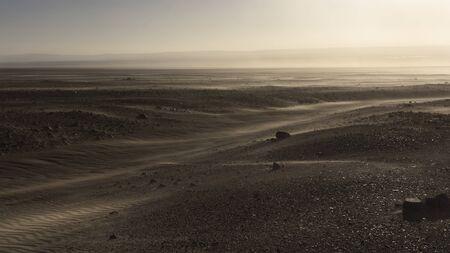 Wind and sand storm in Atacama desert. Stock Photo