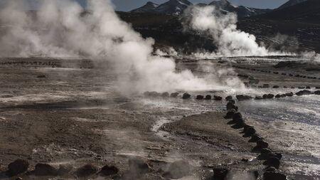 Steaming hot springs at Tatio Geyser, Atacama Desert