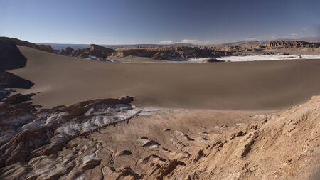 Panoramic view of the Moon valley. Atacama desert. Stock Photo