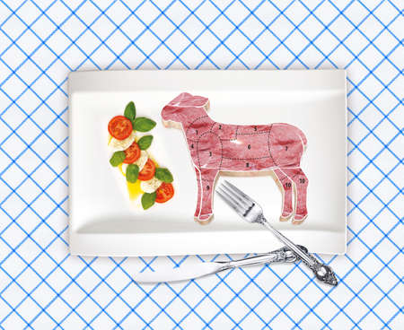 This is illustration diagram of lamb cutting illustration
