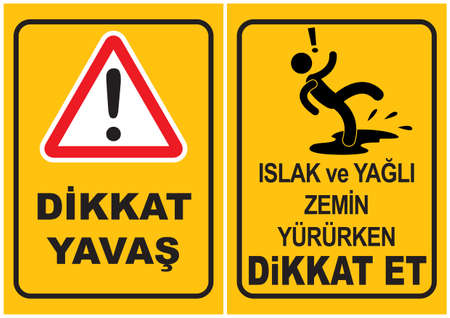 wet floor caution sign: Occupational Safety and Health Signs Illustration