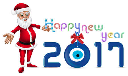 scraping: Happy New Year 2017 Typography and Santa Claus Stock Photo