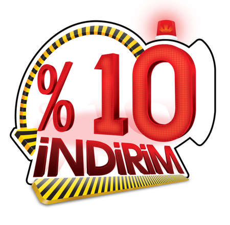 Turkish Discount Percentage Scale. Turkish Spelling Stock Photo