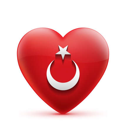 turkish flag: Red Heart iconic Turkish Flag Stock Photo