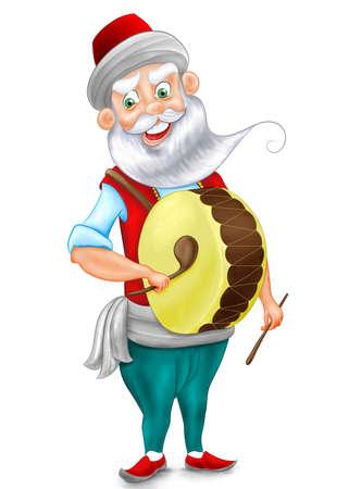 Ramadan Drummer Character Drawing