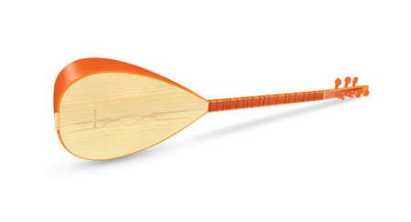 saz: Saz Traditional Turkish Music Instrument Isolated on a White Background