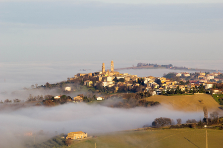 Italian countryside in the mist.