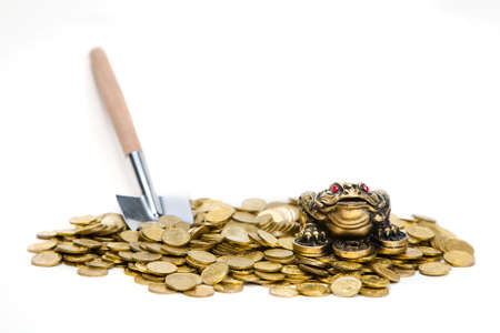 gold shovel: Feng Shui Frog sitting on the heap of Kazakh coins with shovel near by Stock Photo