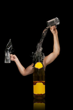 Bottle poring liquid from cups with arms. Free space for text on the bottle photo