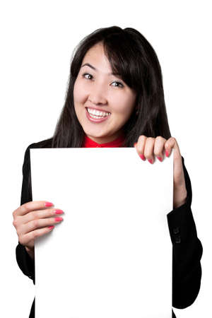 Happy Asian woman with white blank banner isolated on white background photo