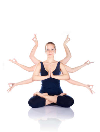 durga: Beautiful woman with many hands gesturing mudras sitting in lotus padmasana pose at white background