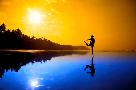 Silhouette of a beautiful young girl dancing on the beach at the sunset in purple and orange colors Stock Photo