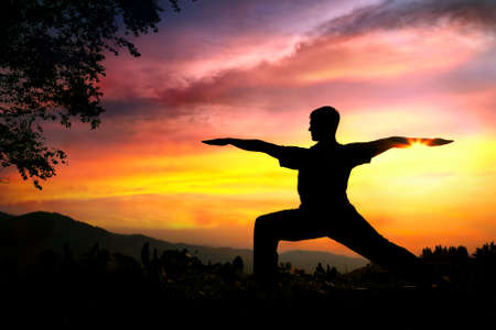 body posture: Man silhouette doing virabhadrasana II warrior pose with tree nearby outdoors at sunset background