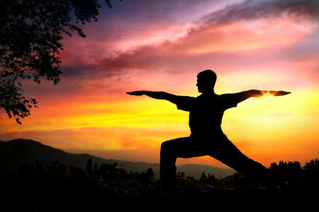 warrior pose: Man silhouette doing virabhadrasana II warrior pose with tree nearby outdoors at sunset background