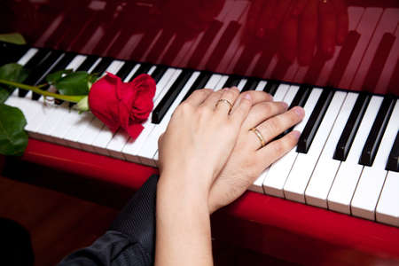 Hands of married man and woman with wedding rings laying on keys of red grand piano with red rose nearby photo