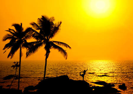 Silhouette of a beautiful young girl doing yoga natarajasana dancer pose on the beach at the sunset in orange colors and palms around in India, Goa, Vagator beach photo