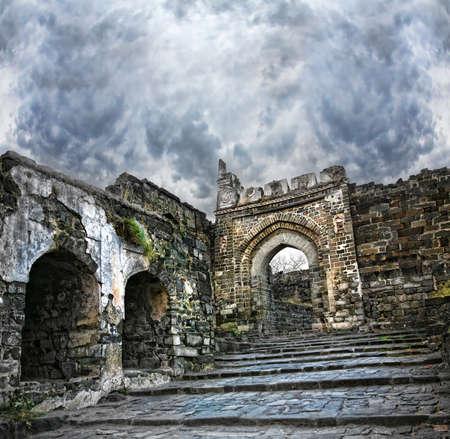 maharashtra: Ancient Daulatabad fort with dramatic sky in Aurangabad, Maharashtra, India