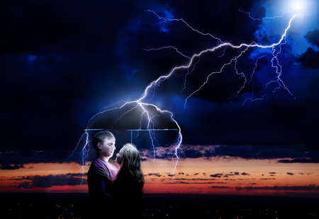 Lighting strikes umbrella with Young couple under it at night storm sky background. Represents sparkle between two lovers  photo