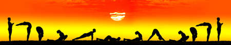 salutation: ten steps of surya namaskar, sun salutation Exercises by Man in silhouettes at orange sunset background with the sun in the center. Step by step