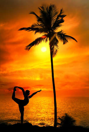 Yoga Natarajasana dancer balancing pose by Man in silhouette with palm tree nearby outdoors at ocean and sunset background. Vagator beach, Goa, India
